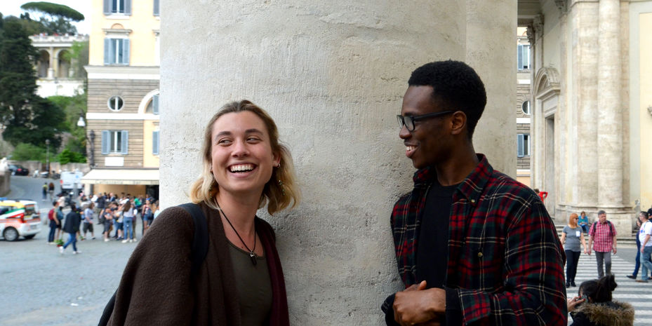 two students laughing in Rome