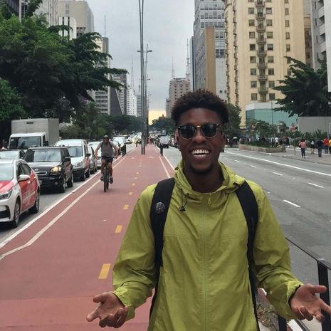 Student in green jacket in Philadelphia