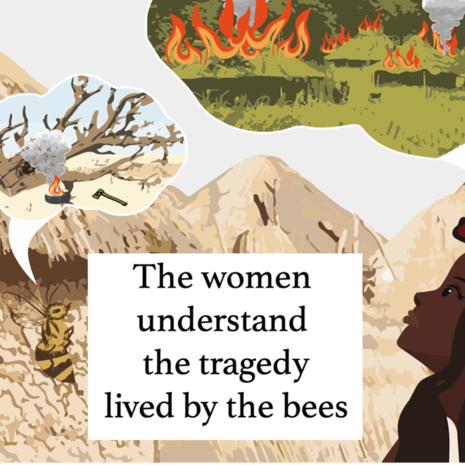 Illustration by Shannon Billongton about bee-keeping in Africa