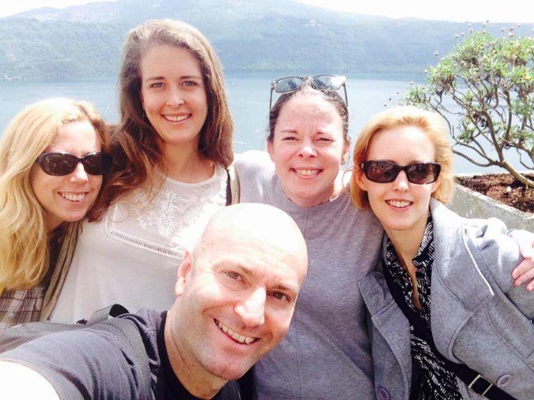 selfie of 5 people in Italy